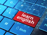 Education concept: Learn English on computer keyboard background