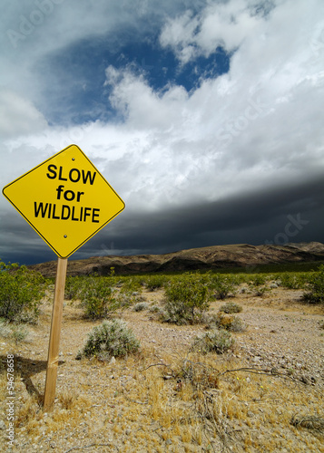 Photographie  Road Sign in California Desert