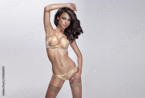 Brunette sensual woman posing in lingerie.