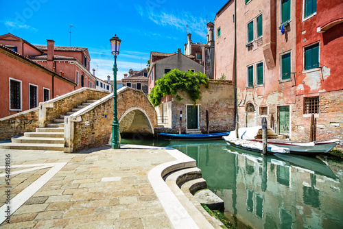 Foto op Canvas Venice Venice cityscape, water canal, bridge and traditional buildings.