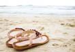 cute flip flops at the beach.