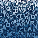 Abstract blue 3D letters background computer generated render