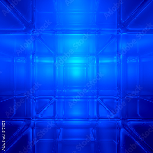 Blue abstract 3D space background - computer generated