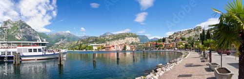 Fotografia torbole, hafen, panorama, gardasee, promenade, italien