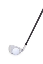 A Golf Club And Ball Isolated On A White Background