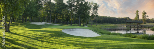 Photo Stands Golf Panoramic view of golf green with white sand traps