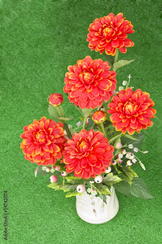 Dahlia Colorful artificial flowers made from cloth