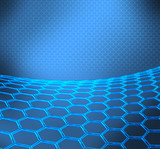 Blue abstract technical or scientific background with graphene