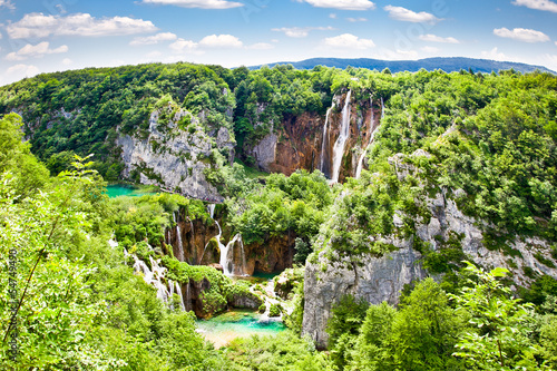 Fototapeta Waterfalls in Plitvice lakes National Park in Croatia.