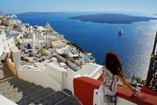 Beautiful Woman On Santorini, ...