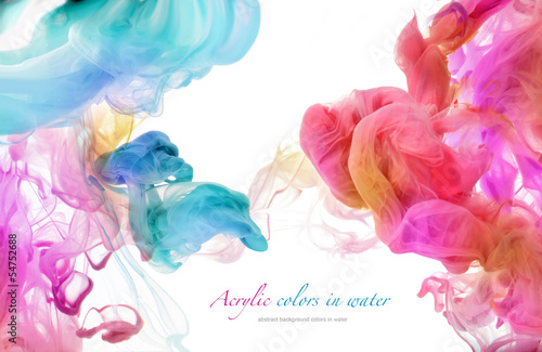 Acrylic colors in water. Abstract background. Poster