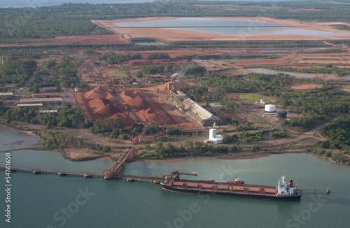 Ore  ship loading bauxite Australia. Canvas Print