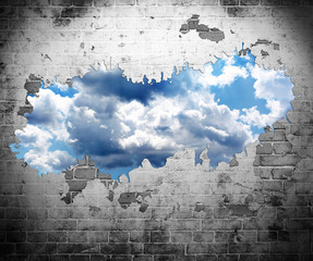 Naklejka Na szybę old wall and blue sky with clouds