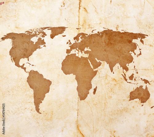 Spoed Foto op Canvas Wereldkaart old treasure map