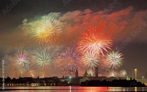 Fotografie, Obraz  Fireworks celebrarion Redentore (venice, Italy)