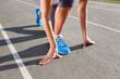Closeup of runners shoe - running concept