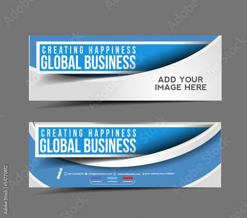 Fototapeta set of business banner, header vector design. obraz