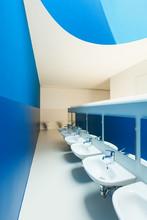 New Architecture, Blue Public Bathroom