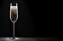 Glass Of Champagne Isolated On...