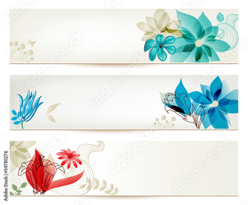 Montage in der Fensternische Abstrakte Blumen Beauty flower banners