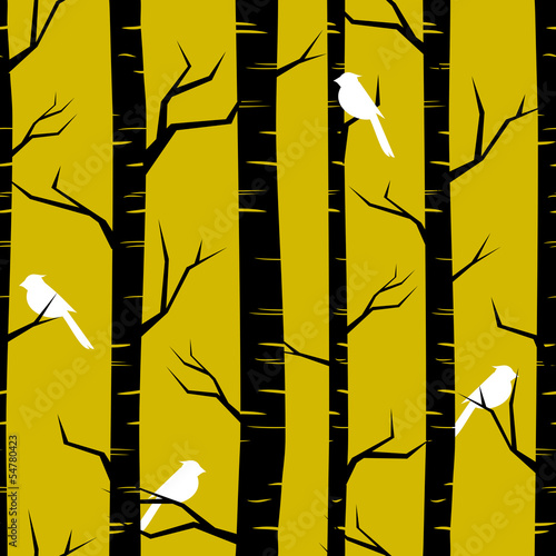 Autocollant pour porte Oiseaux dans la foret Abstract Forest Background