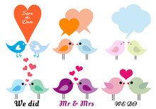 Love Birds With Hearts, Vector...