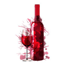 Bottle And Glass Of Wine Made Of Colorful Splashes