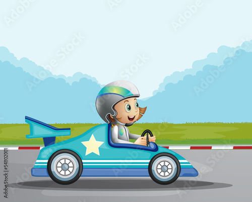 Recess Fitting Cars A happy girl in her blue racing car