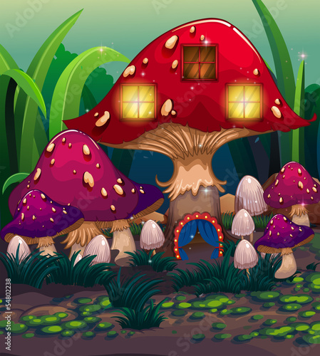 Aluminium Prints Magic world A big mushroom house with a blue curtain