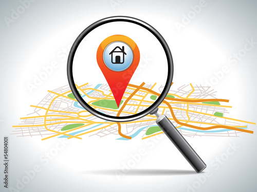Fotografie, Obraz  search for home on map location, vector illustration