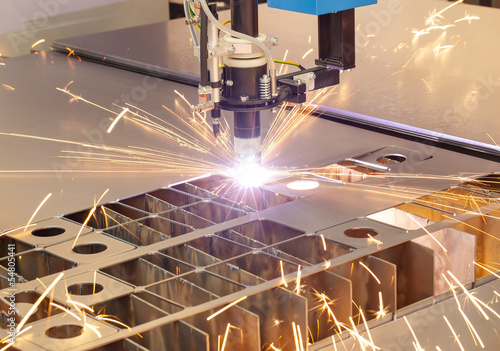 Fotografie, Obraz  Plasma cutting metalwork industry machine