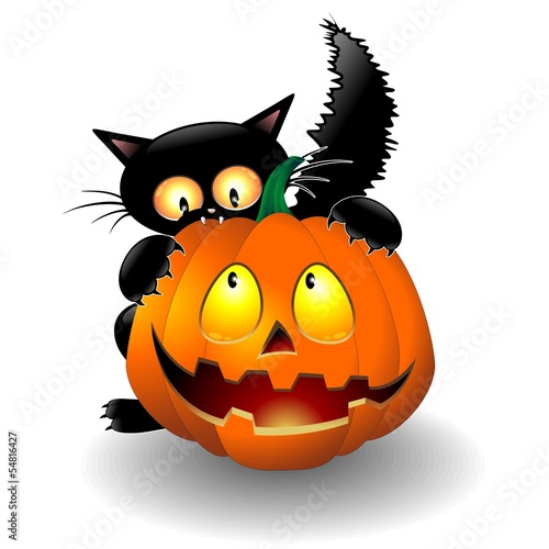 Halloween Cat Cartoon biting a Pumpkin-Gatto con Zucca