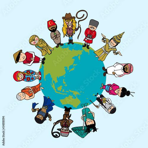 Koncepcja różnorodności, ludzie kreskówki na planecie Ziemia z wyróżnieniem