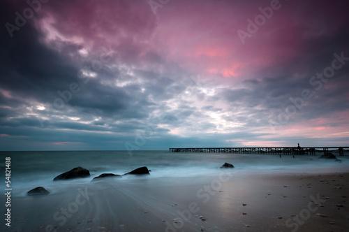 Plakat Plaża z fioletowym niebem