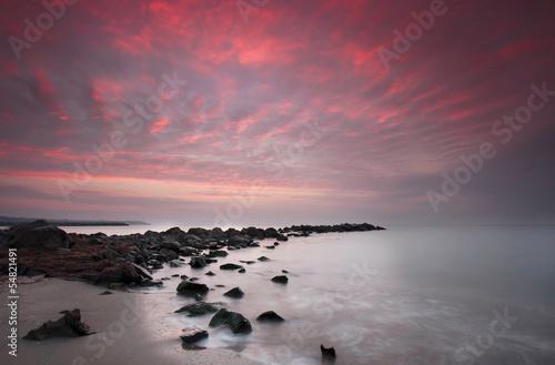 Foto op Canvas Candy roze Long exposure sea sunrise