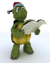 Tortoise Singing Christmas Carols