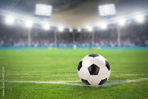 Fotografie, Obraz  Fußballstadion mit Fußball