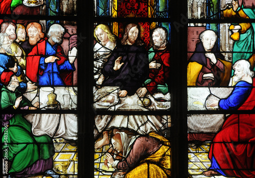 Spoed Fotobehang Stained France, stained glass window in the Saint Martin church of Triel