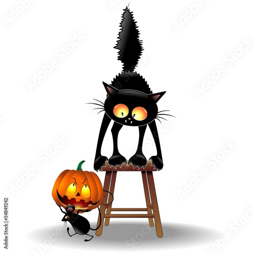 Scared Cat and Halloween Mouse-Gatto con Topolino e Zucca