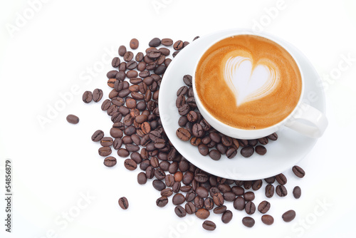 Fotografie, Obraz  A cup of cafe latte and coffee beans on white
