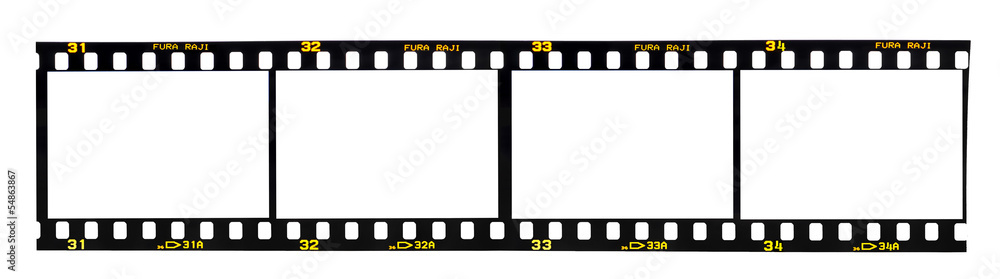 Fototapety, obrazy: Old fashioned 35mm filmstrip isolated on white background