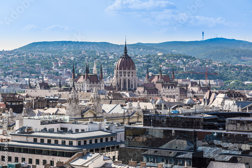 View at Budapest and belfry from the top of St. Stephen Basilica