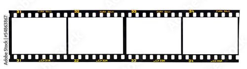 Old fashioned 35mm filmstrip isolated on white background Wallpaper Mural