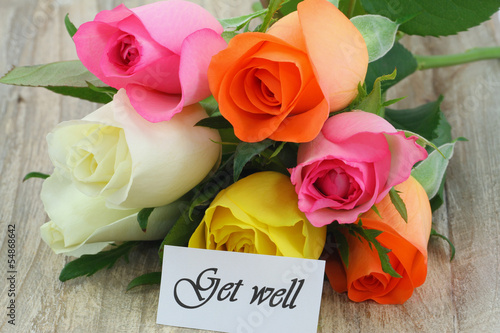 Fényképezés  Get well card with colorful roses