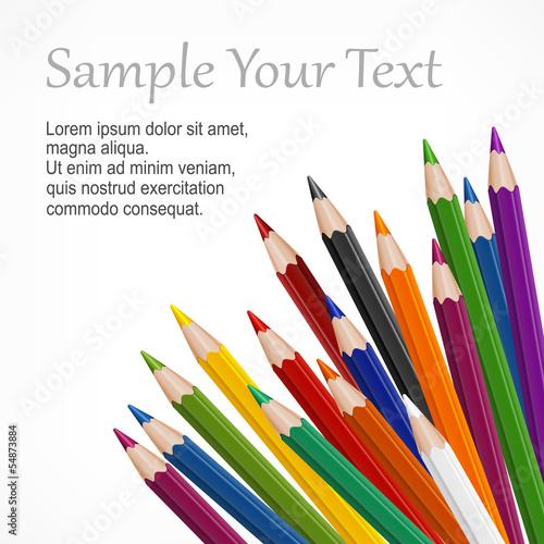 Fotografie, Obraz  Many colored wooden pencils