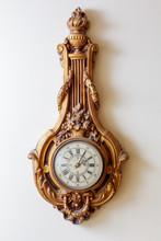 Vintage Golden Clock On White ...
