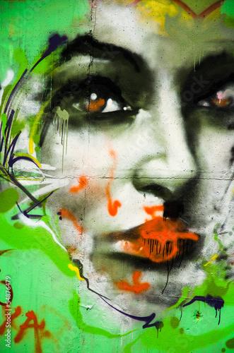 Woman face graffiti drawing