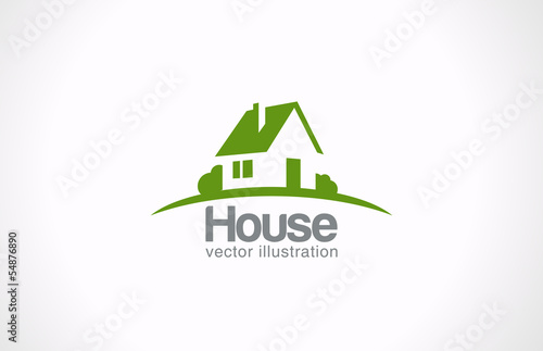 Fotografie, Obraz  Logo House abstract real estate countryside. Realty icon