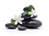 Fototapeta Kamienie - tiare flowers, candle and black stone spa