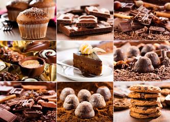 Fototapeta Do cukierni collage of various chocolate products